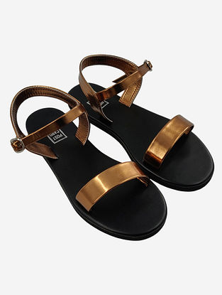 Bronze Handcrafted Faux Leather Sandals