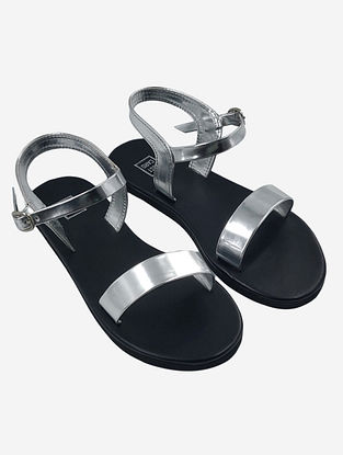 Silver Handcrafted Faux Leather Sandals