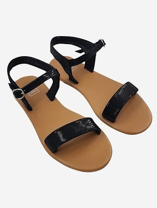 Black Handcrafted Faux Leather Sandals