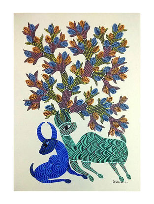 Multicolored Shelter Gond Art on Paper (L-14in, W-10in)