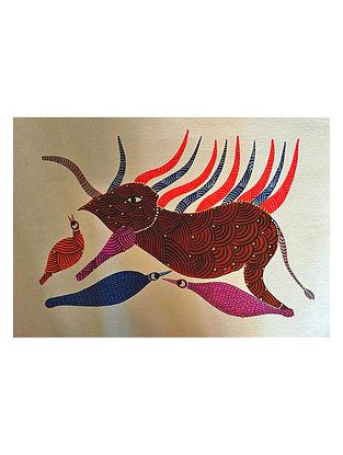 Multicolored Danger Gond Art on Paper (L-10in, W-14in)