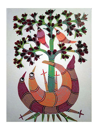 Multicolored Family 3 Gond Art on Paper (L-14in, W-10in)