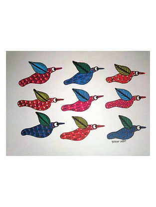 Multicolored Flying in Formation Gond Art on Paper (L-14in, W-10in)