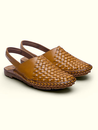 Tan Handcrafted Genuine Leather Mules for Men