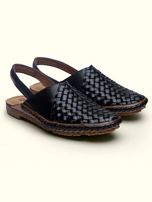 Black Handcrafted Genuine Leather Mules for Men