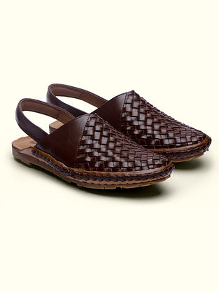 Brown Handcrafted Genuine Leather Mules for Men