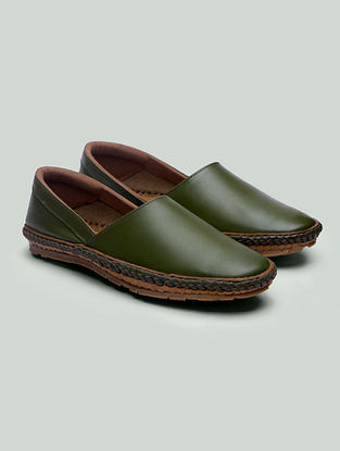 Olive Handcrafted Genuine Leather Shoes for Men