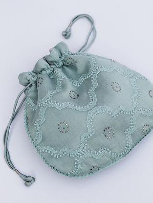 Mint Blue Chikankari Chanderi Silk Potli