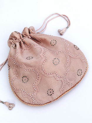 Blush Pink Chikankari Chanderi Silk Potli
