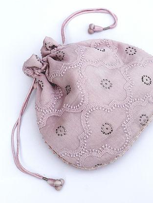 Pink Chikankari Chanderi Silk Potli