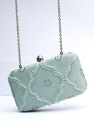 Mint Blue Chikankari Chanderi Silk Clutch
