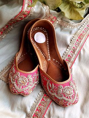 Rani Pink Handcrafted Silk Leather Juttis