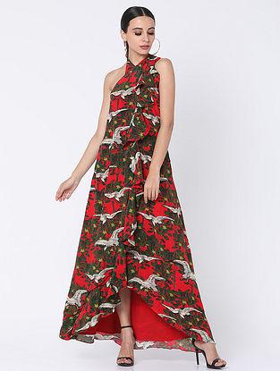 Red Crepe Dress