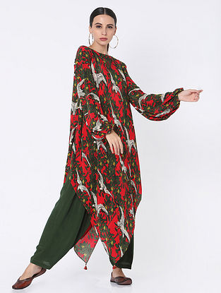 Red and Green Crepe Tunic with Pants