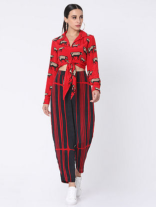 Red Crepe Shirt with Pants