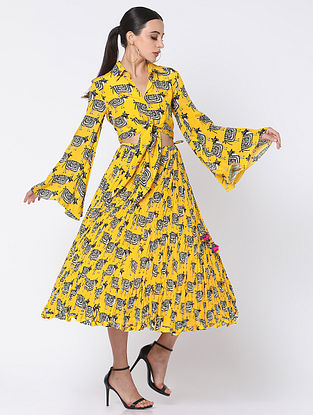 Yellow Crepe Top with Skirt