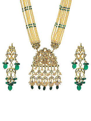 Green Cream Gold Tone Kundan Beaded Necklace With Earrings