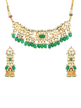 Green Gold Tone Kundan Necklace With Jhumki Earrings