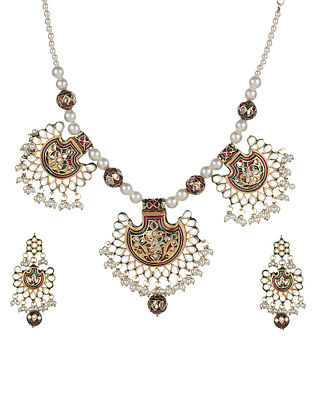 Green Red Gold Tone Enameled Kundan Necklace With Earrings