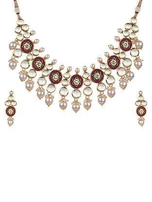 Maroon Gold Tone Kundan Necklace And Earrings With Pearls