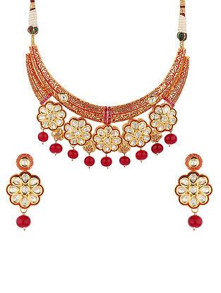 Maroon Gold Tone Kundan Enameled Necklace With Earrings