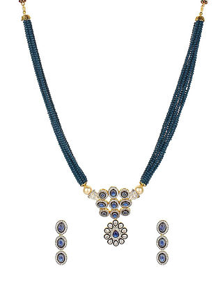 Blue Silver Tone Beaded Necklace With Earrings