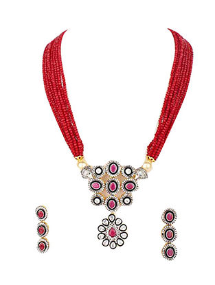 Red Silver Tone Beaded Necklace With Earrings