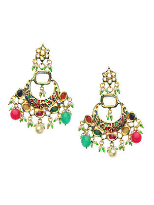 Multicolored Gold Tone Kundan Enameled Earrings