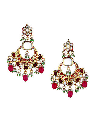 Maroon Gold Tone Kundan Enameled Earrings