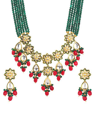 Green Red Gold Tone Kundan Beaded Necklace With Earrings