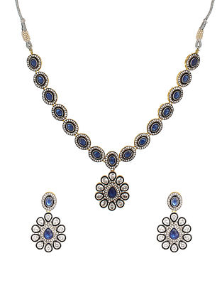 Blue Silver Tone Handcrafted Necklace With Earrings
