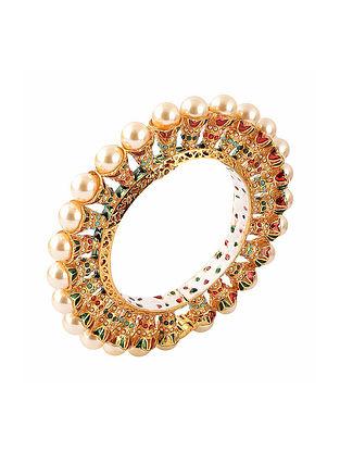 Gold Tone Pearl Beaded Jadau Bangle