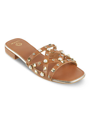Tan Handcrafted Flats