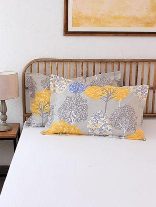 Saptaparni 100% Cotton Yellow Printed Pillow Covers (Set of 2)