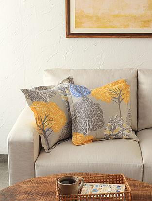 Saptaparni 100% Cotton Yellow Printed Cushion Cover (Set of 2)