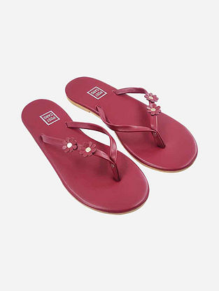 Red Handcrafted Faux Leather Slip Ons