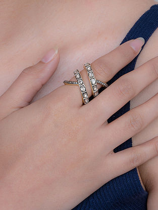 Polki Diamond Silver Ring (Size: 14)