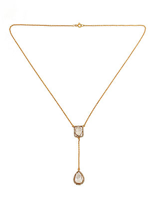 Gold Tone Polki Diamond Silver Necklace