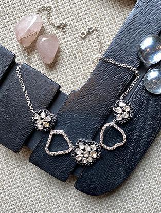 Polki Diamond Silver Necklace with Black Onyx