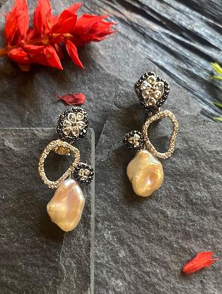 Polki Diamond Silver Earrings with Baroque Pearl