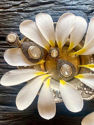 Polki Diamond Silver Earrings