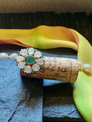 Gold Tone Polki Diamond Silver Adjustable Ring with Emerald
