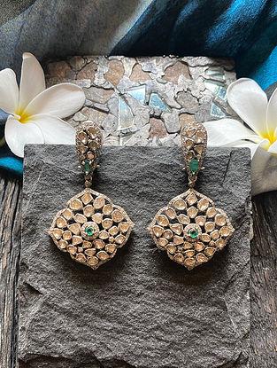 Polki Diamond Silver Earrings with Emerald