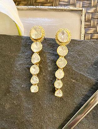 Gold Tone Polki Diamond Silver Earrings