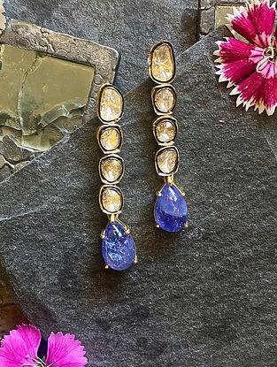 Polki Diamond Silver Earrings with Tanzanite