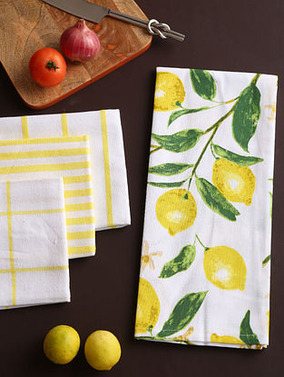 White and Yellow Kitchen Towel (Set of 4)