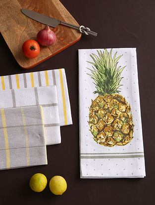 White and Grey Kitchen Towel (Set of 4)