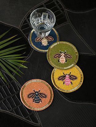 Multicolored Beaded Cotton Coasters (Set of 4)