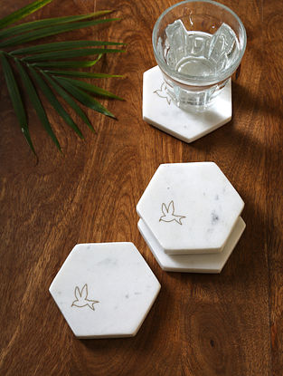 White Marble Inlay Coasters (Set of 4)