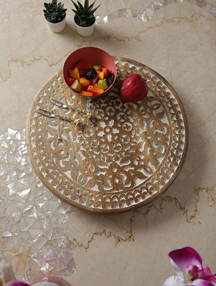 White Distress Lazy Susan (Dia-16in ,H -2in)